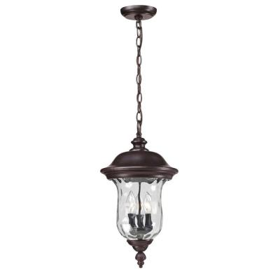 Lawrence 3-Light Rustic Bronze Outdoor Hanging Pendant with Clear Waterglass Glass Shades