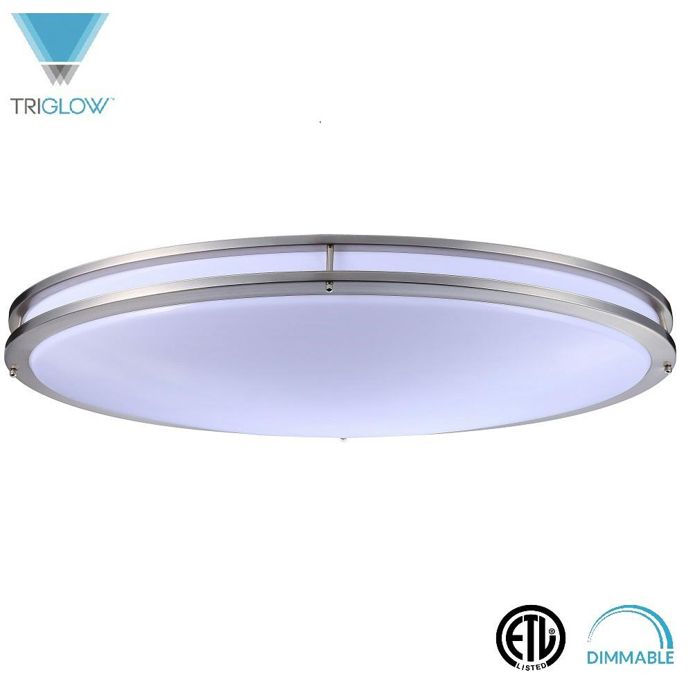 TriGlow 32 in. 45-Watt Brushed Nickel Soft White Dimmable...