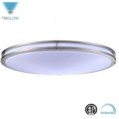 45-Watt Brushed Nickel Cool White Dimmable 32 in. Double Ring Oval Integrated LED Flush Mount Fixture