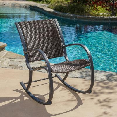 Gracie Dark Brown Wicker Outdoor Rocking Chair