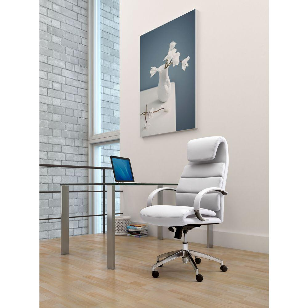 ZUO Lider Comfort White Office Chair-205316 - The Home Depot