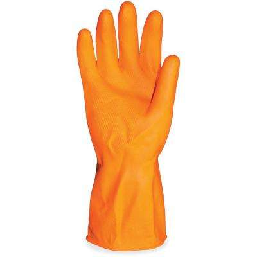 Orange Flocked-Lined Chemical-Resistant Latex Gloves (6-Pairs)