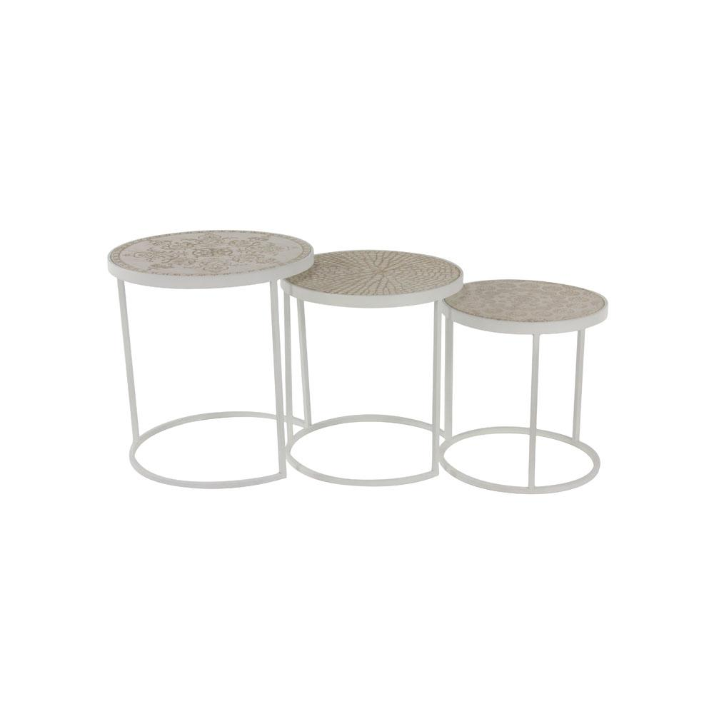 White Round Nesting Tables (Set of 3)