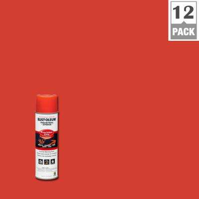 17 oz. M1600 System Precision Line Solvent-Based Fluorescent Red Inverted Marking Spray Paint (12-Pack)