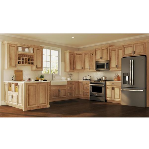 Hampton Bay Hampton Assembled 30x18x12 In Wall Bridge Kitchen Cabinet In Natural Hickory Kw3018 Nhk The Home Depot
