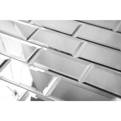 "Subway 3"" x 6"" Silver Gray Beveled Glossy Glass Mirror Peel & Stick Decorative Bathroom Wall Tile Backsplash (8 Pack)"