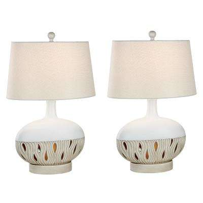 26 in. Oyster Matte Indoor Table Lamp Set
