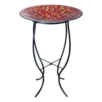 18 in. Red and Gold Mosaic Glass Birdbath with Metal Stand