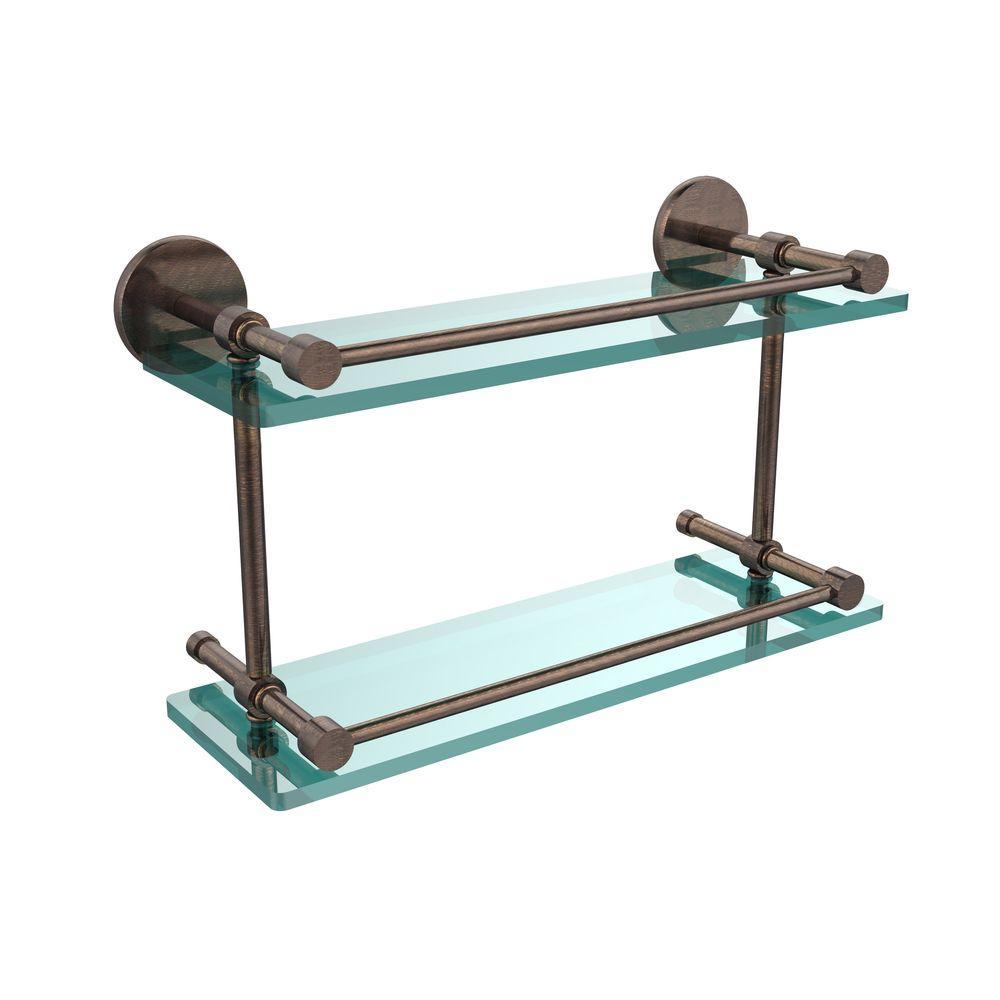 16 in. L x 8 in. H x 5 in. W 2-Tier Clear Glass Bathroom Shelf with Gallery Rail in Venetian Bronze