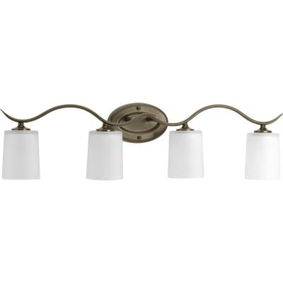 Inspire 4-Light Antique Bronze Bathroom Vanity Light with Glass Shades