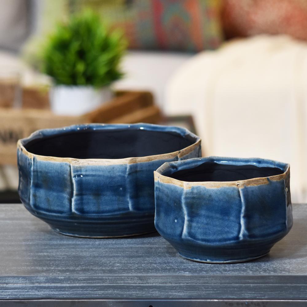 Blue Gloss Rust Ceramic Decorative Vase
