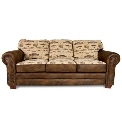 Angler's Cove Rustic Cabin Sofa with Nail Head Accents and Fishing Scene
