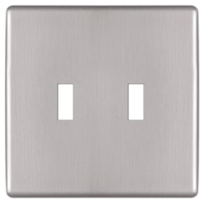 Kentley 2 Gang Toggle Steel Wall Plate - Brushed Nickel
