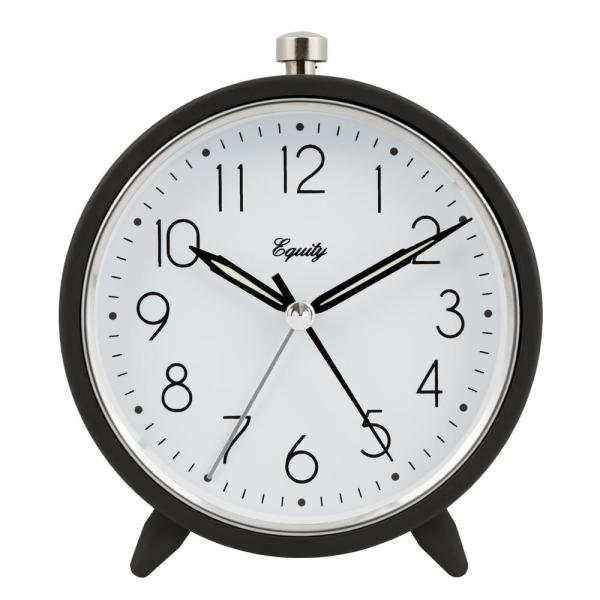 5 in. Round Quartz Metal Alarm Clock in Dark Gray