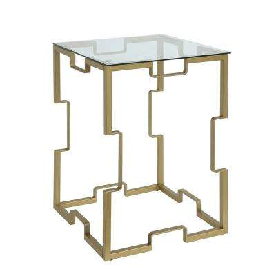 Nora 18 in. Gold Square Glass Top Table
