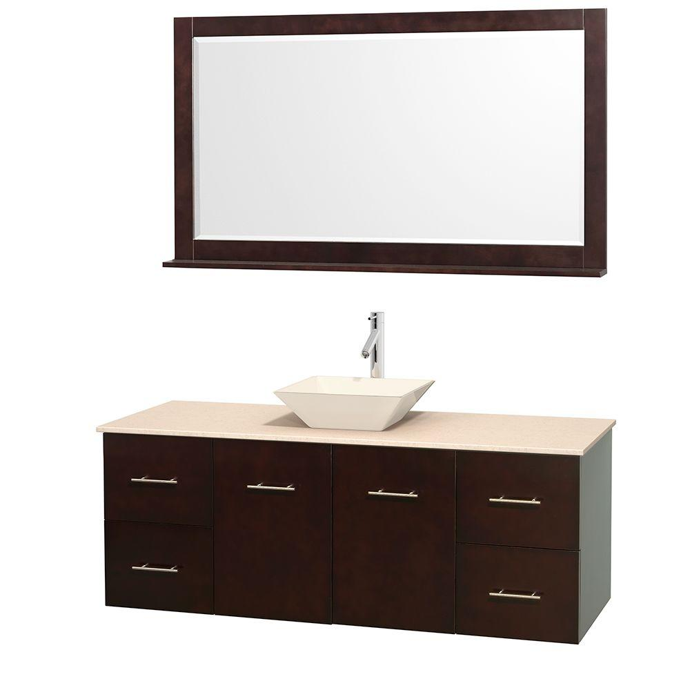 Wyndham Collection Centra 60 in. Vanity in Espresso with Marble Vanity Top in Ivory, Bone Porcelain Sink and 58 in. Mirror