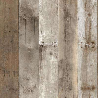 Repurposed Wood Weathered Self-Adhesive, Removable Wallpaper