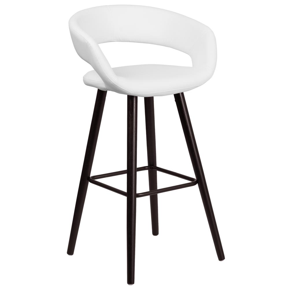29.5 in. Cappuccino and White Cushioned Bar Stool