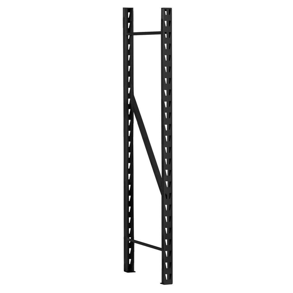 72 in. H x 1.5 in. W x 17 in. D Steel Commercial Storage Shelf Rack End Frame in Black