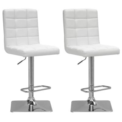 Adjustable Height White Bonded Leather Swivel Bar Stool (Set of 2)