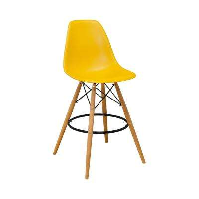Paris Tower Mid Century Modern 28 in. Yellow Barstool (Set of 2)