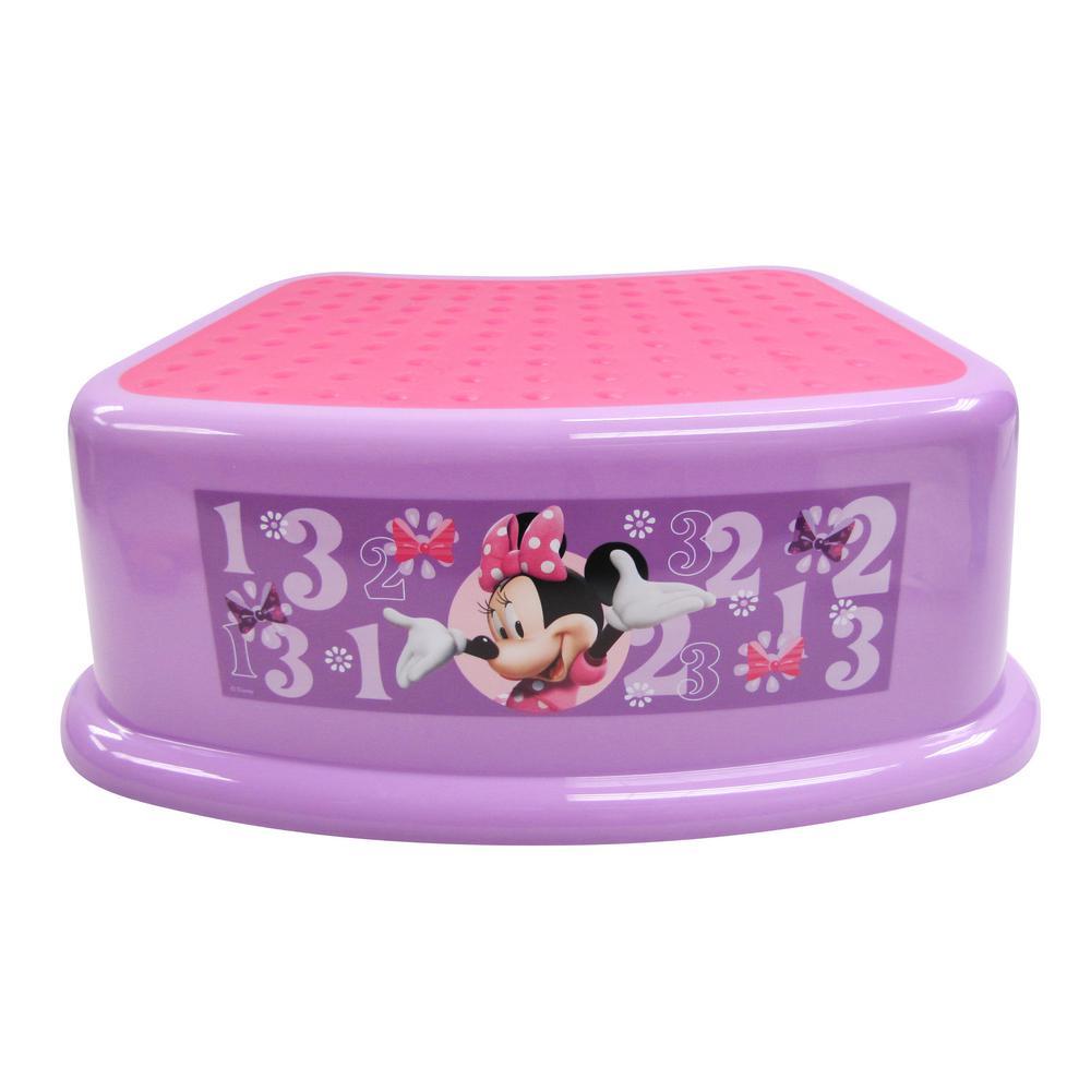 Disney Bathroom Sets | Disney 1 Minnie Mouse Step Stool Bowtique In Purple