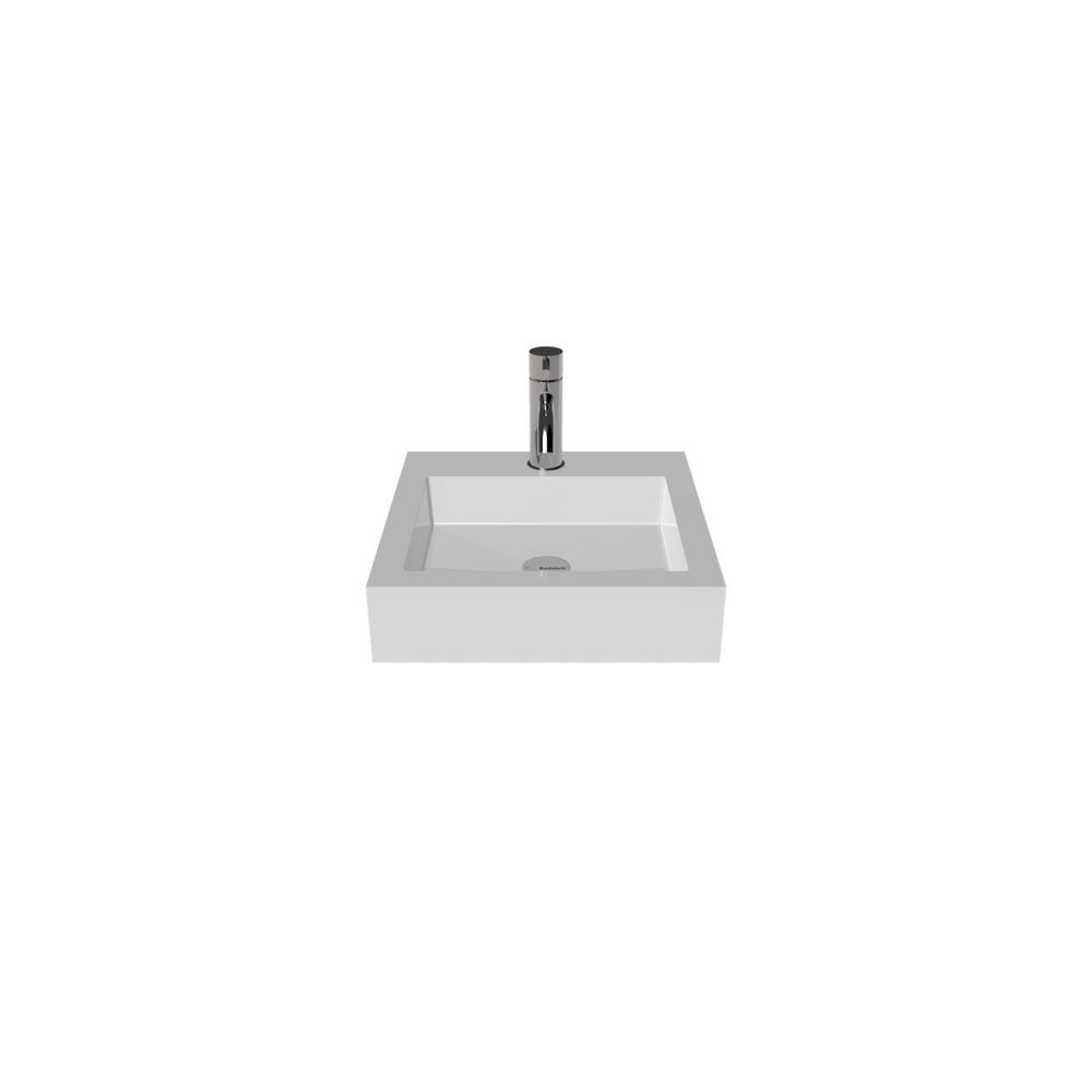 Badeloft USA Vessel Sink in White Glossy with Popup Drain in Chrome
