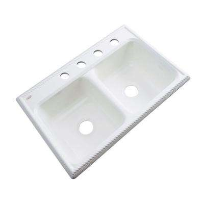 Seabrook Drop-In Acrylic 33 in. 4-Hole Double Bowl Kitchen Sink in White