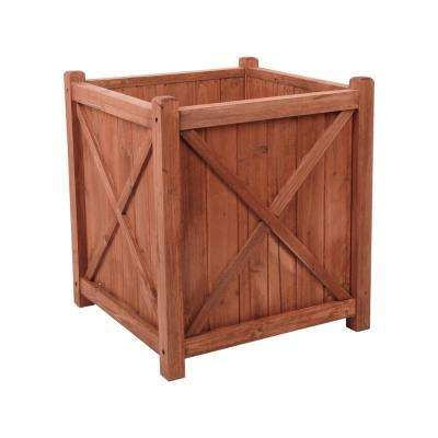 Cambridge 16 in. W x 16 in. D x 18 in. H Square Wooden Brown Planter