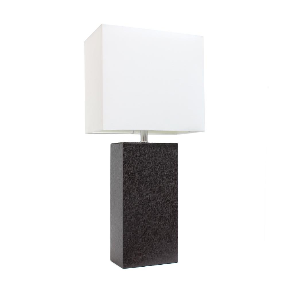 Delicieux Modern Espresso Brown Leather Table Lamp With White Fabric Shade