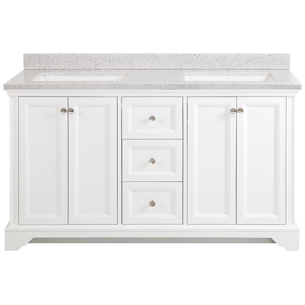 Home Decorators Collection Stratfield 61 in. W x 22 in. D Bathroom Vanity in White with Solid Surface Vanity Top in Silver Ash with White Sink