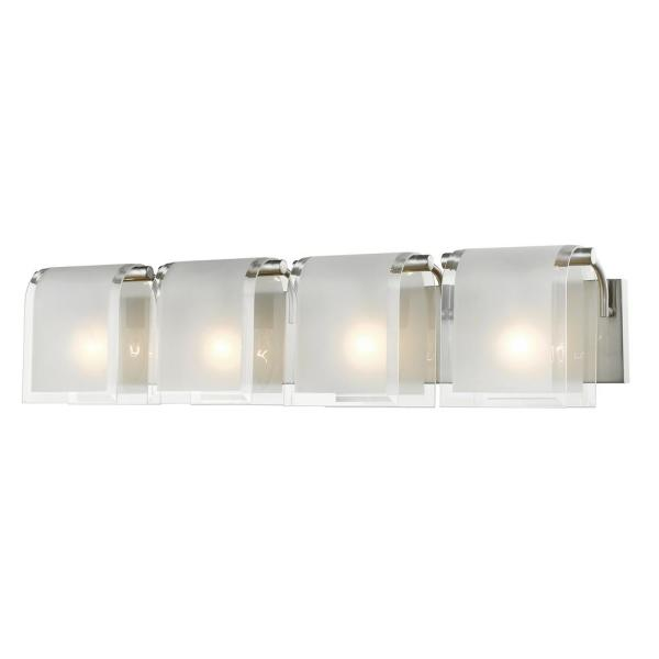 Whitley 4-Light Brushed Nickel Bath Light with Frosted Glass