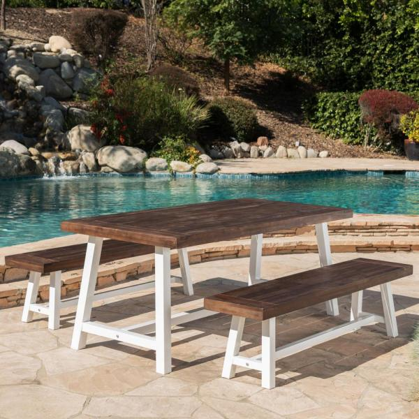 Rustic White 3-Piece Metal and Dark Brown Wood Rectangular Outdoor Picnic-Style Dining Set
