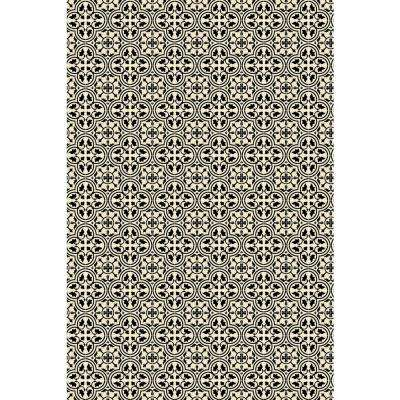 Quad European Design  4ft x 6ft black & White Indoor/Outdoor vinyl rug.