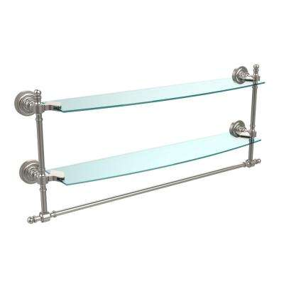 Retro Dot Collection 24 in. Two Tiered Glass Shelf with Integrated Towel Bar in Satin Nickel
