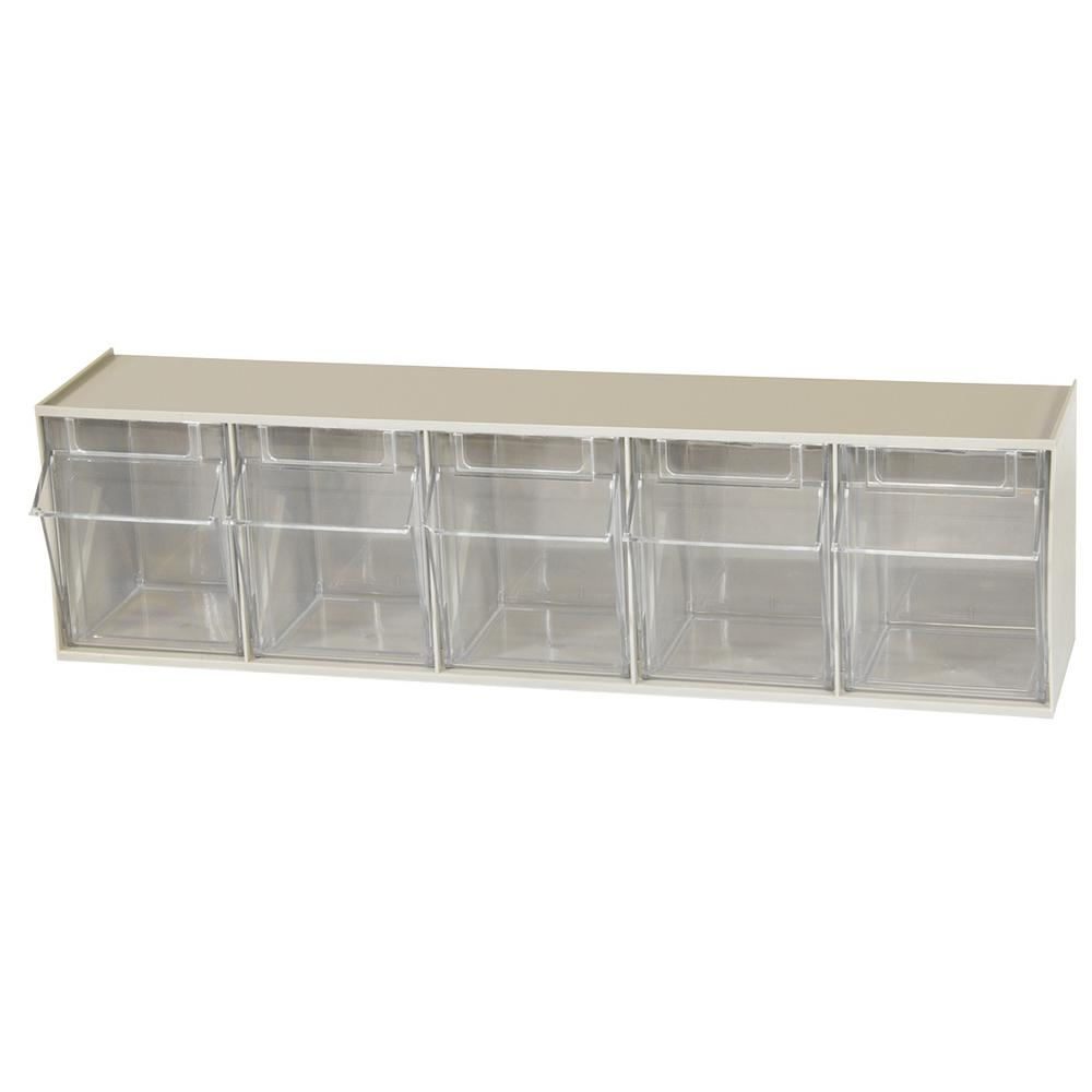 TiltView Cabinet 5 Bins, 20 lb. Capacity Storage Bins in Tan/Clear
