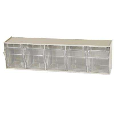 TiltView Cabinet 5-Compartment 20 lb. Capacity Small Parts Organizer Storage Bins in Tan/Clear