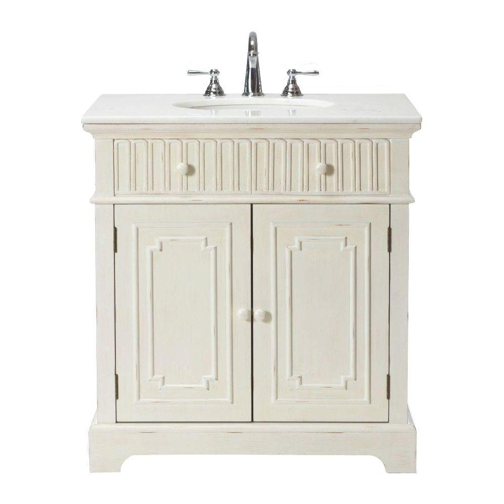 Home Decorators Collection Manor 32 in. Vanity in Distressed White with Natural Marble Vanity Top in White
