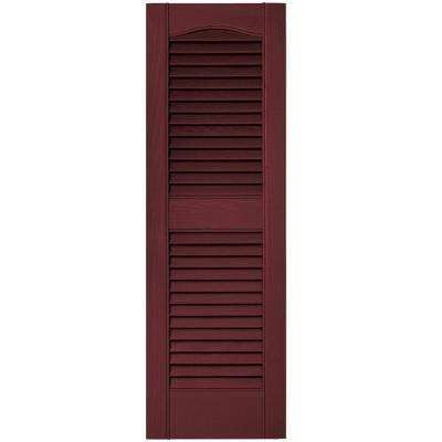 12 in. x 36 in. Louvered Vinyl Exterior Shutters Pair #078 Wineberry