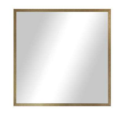 25.125 in. x 25.125 in. Tuscan Linen Amber Metal Square Mirror