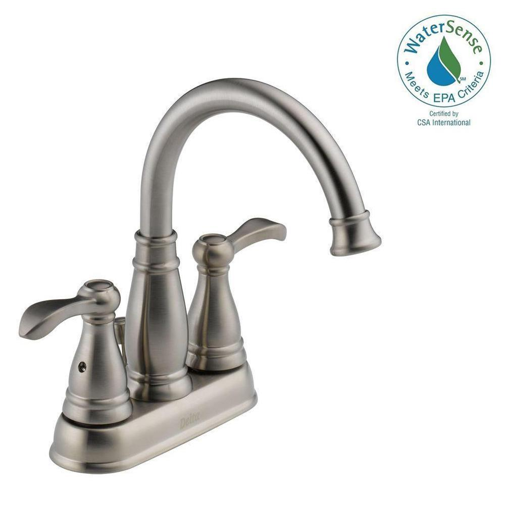 Delta Porter 4 in. Centerset 2-Handle Bathroom Faucet in Brushed ...
