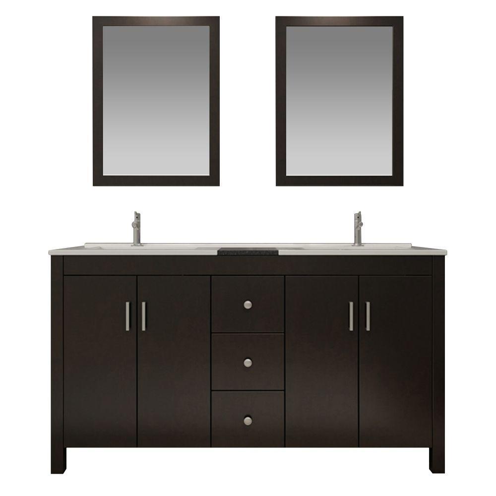 Hanson 73 in. Bath Vanity in Espresso with Granite Vanity Top in Black, Drop-In Basins and Mirrors