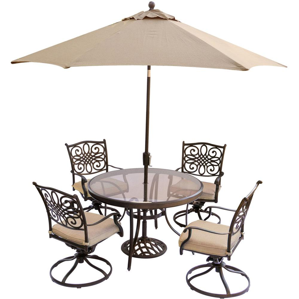 Hanover 5 Piece Outdoor Dining Set With Round Gl Table Swivel Chairs Umbrella And Base Natural Oat Cushions