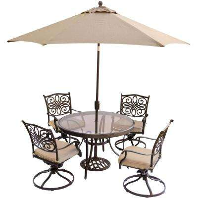 5-Piece Outdoor Dining Set with Round Glass Table, Swivel Chairs, Umbrella, and Base with Natural Oat Cushions