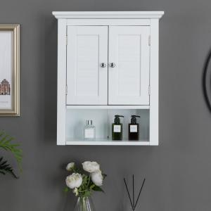 24.10 in. H Wooden White Wall Cabinet with Double Doors