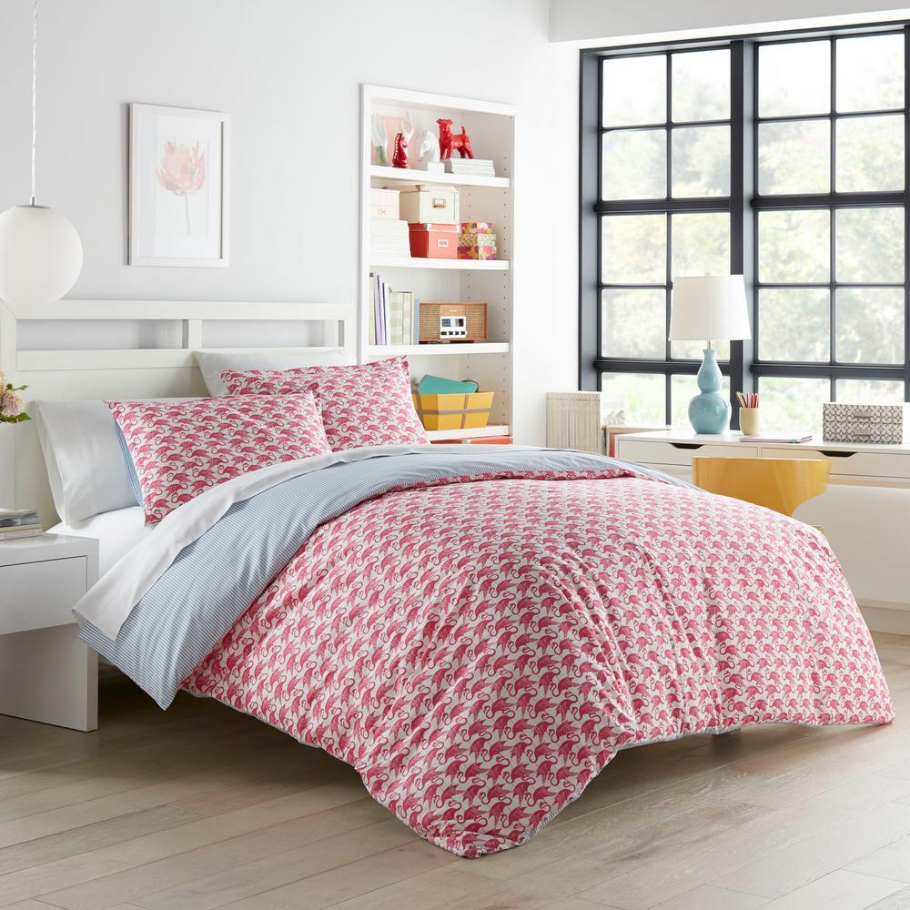 Flamingo Pink 3-Piece Cotton King Duvet Set