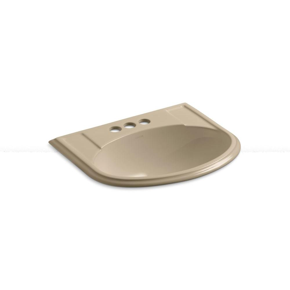 KOHLER Devonshire Drop-In Vitreous China Bathroom Sink in Mexican Sand with Overflow Drain
