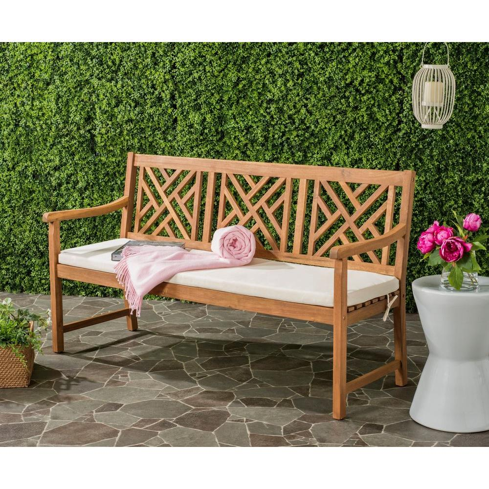 safavieh bradbury outdoor 3 seat acacia patio bench with beige cushions - Patio Benches