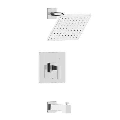 Hotel De Ville Single Handle 1-Spray Square Tub and Shower Faucet in Brushed Nickel Valve Included
