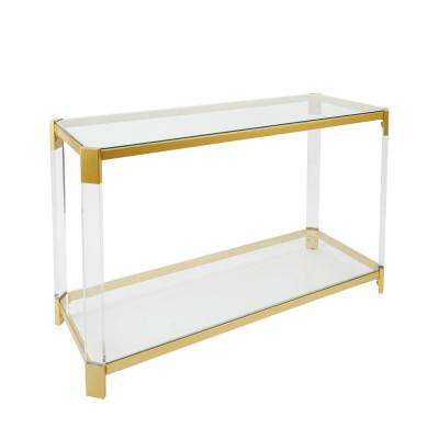 Huxley Acrylic and Gold with Glass Top Console Table